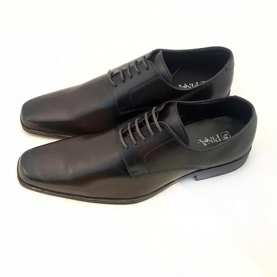 Sapato Masculino Pina Couro Sintético Preto E Marrom Oportun