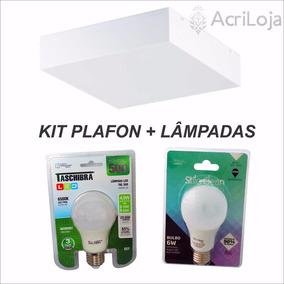 Kit 5 Plafon Acrílico 20x20 Sobrepor Luminárias + Lâmpada 6w