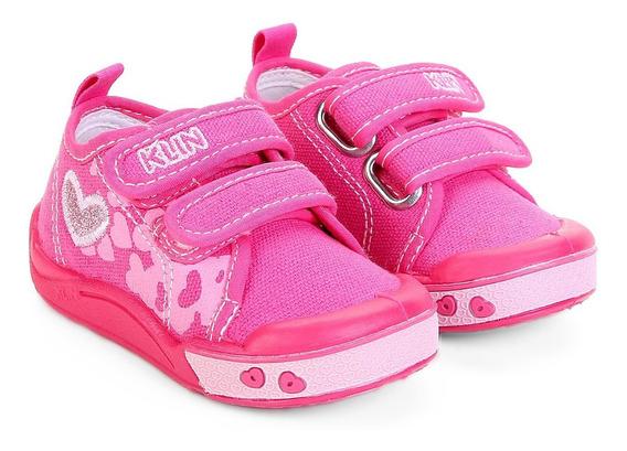 Tênis Infantil Klin Toy Jeans Lindo Feminino - Pink E Rosa