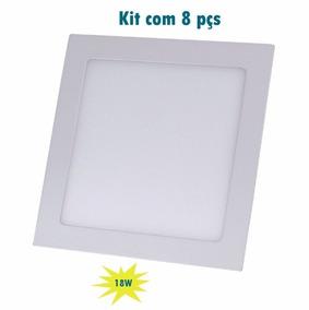 Kit 8 Plafon Embutir Quadrado Led 18w Painel Bivolt 22x22