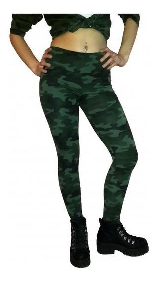 Calza Leggings Chupin Camuflada Estampado Militar 100% Lycra