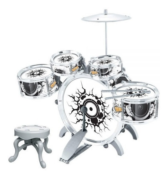 Mini Bateria Musical Infantil Rock Party Dm Toys Com Pedal