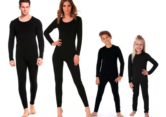 Roupa Térmica Kit Família 4 Blusas + 4 Calças Segunda Pele Para Frio Intenso, Neve - Adulto Infantil - Promoção