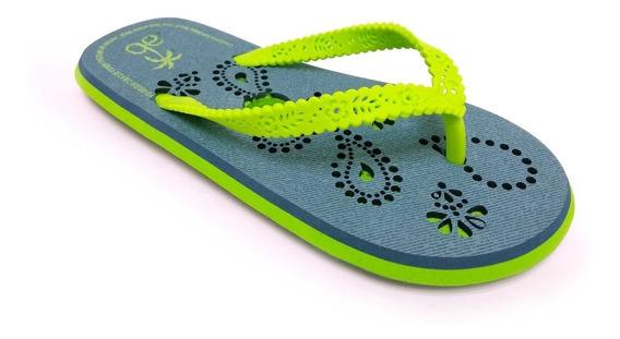 Sandalia Arra Beach Para Niña Verde Neon Con Detalles Azules