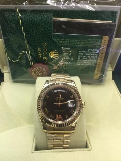Relógio Gzr5455 Daydate Preto Automátic Dourado 18k 40mm
