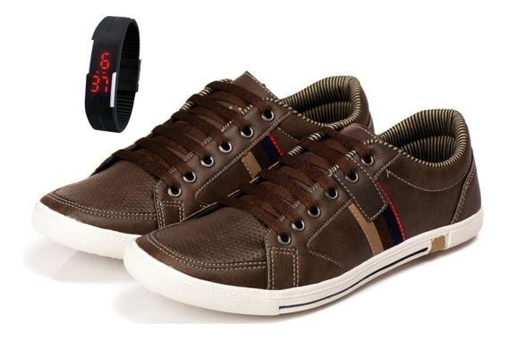 Kit Relogio Led + Sapatenis K Masculino Sapato Casual Wear