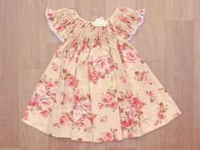 Vestido Casinha De Abelha Floral Marrom Claro