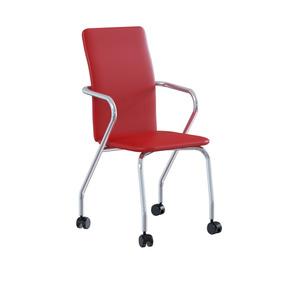 Cadeira De Escritório P-358 Vinil Búfalo Vermelho Brigatto