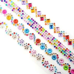 Washi Tape Fita Decorativa Cristal Diamante Flores Colorido