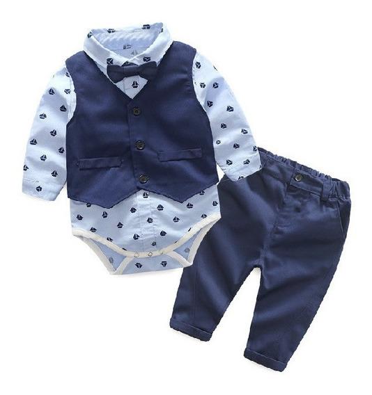 Conjunto Traje Para Bebé Niño Pañalero Moño Chaleco Pantalón