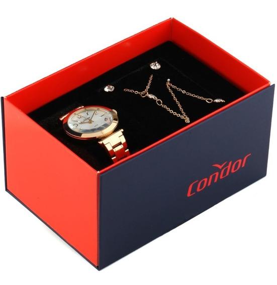 Relógio Condor Feminino Dourado + Colar + Brincos + Nf