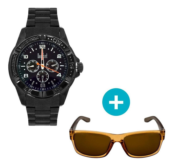 Relógio Dumont Masculino Analógico, Caixa 5,1cm, Preto, Puls