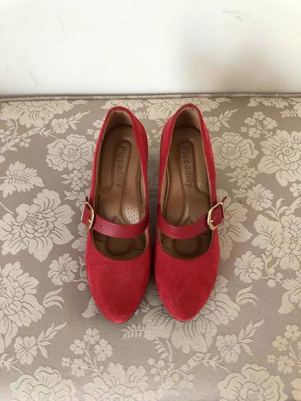 Sapato Linha Conforto - Vermelho Nobuque