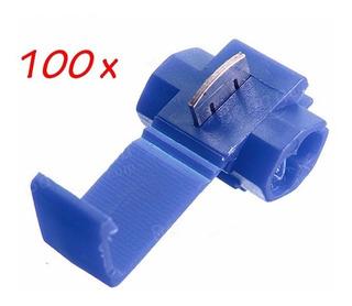 100pçs Conector Derivação Emenda Cabos Fios Azul 1,5 A 2,5mm