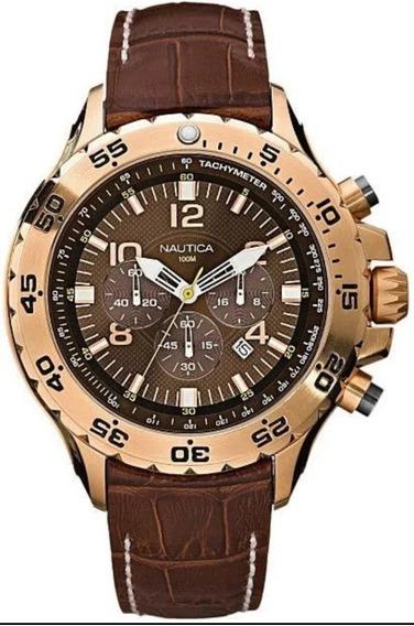 Relógio Náutica N18522g Dourado Com Pulseira De Couromarrom