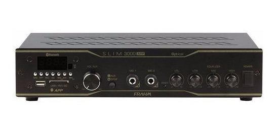 Amplificador Frahm Slim 3000app Optical 200w Bluetooth Usb
