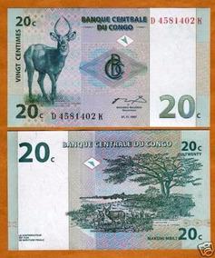 Congo (ex Zaire) 20 Centimes 1997 P. 83 Fe Cédula Tchequito