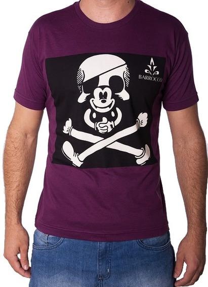 Camiseta Barrocco Caveira Mickey Uva 100% Algodão