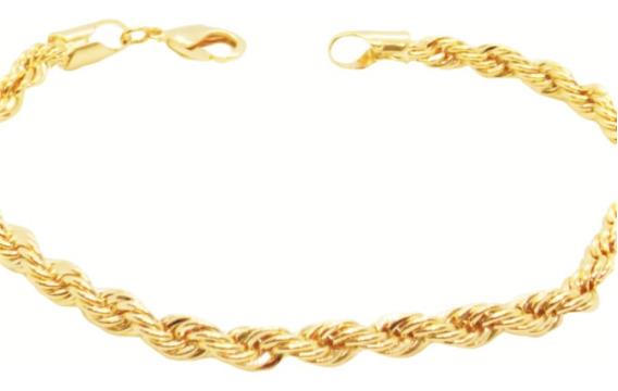 Pulseira Feminina Masculina Cordão Baiano 21cm Folheada Ouro