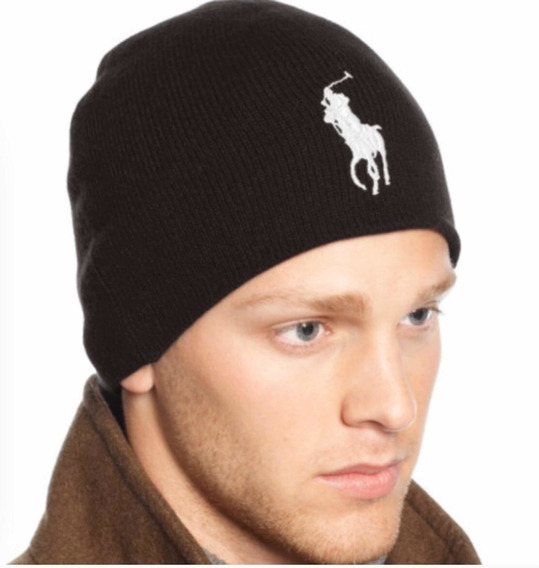 Beanie Ralph Lauren Polo Merino Big Pony Negro 100%original