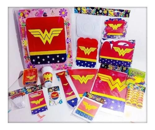 Set Kit Infantil Fiesta Wonder Woman Mujer Maravilla Econ 12