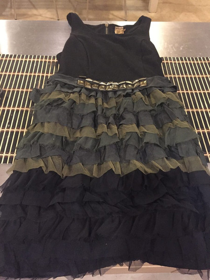 Vestido Negro Corto Con Volados Verde De Forever 21 Xsmall