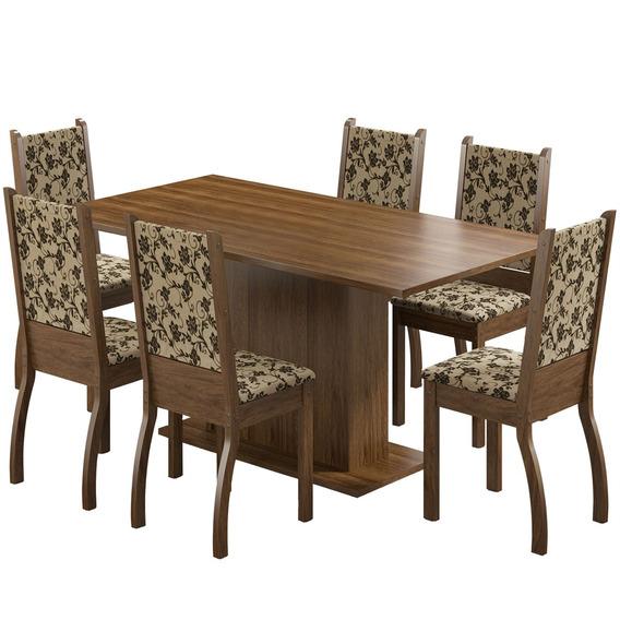 Jogo Mesa Com 6 Cadeiras Madesa Caroline Rustic E Floral