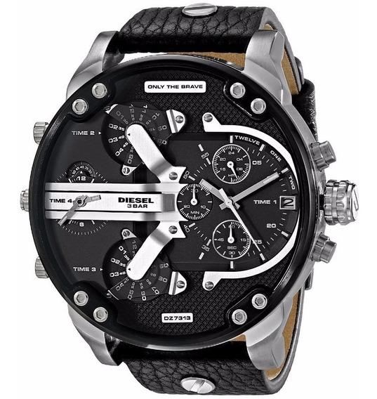 Relógio Diesel Masculino Dz7313/0pn Aço Couro Cronografo