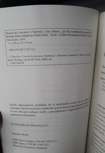 Manual De Concursos Y Quiebras Pablo Frick 2018 2 Tomos Mercado Libre