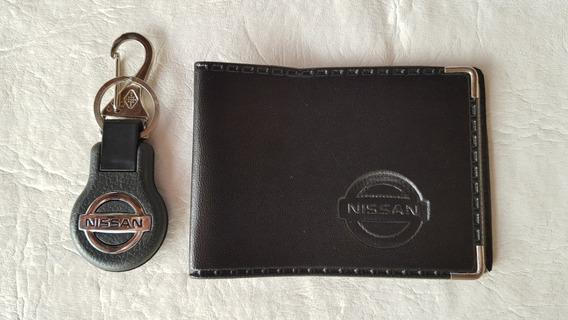 Kit Carteira Logo Nissan Chaveiro Nissan Com Mosquetao