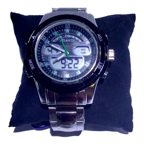 Relógio Atlantis Ana. Dig. Prata Fundo Preto E Verde - G3208
