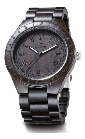 Reloj Fino Madera Original Lujo Ebano Hombre Mov Japones