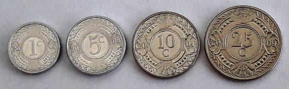 Antillas Holandesas Set De 4 Monedas Sin Circular