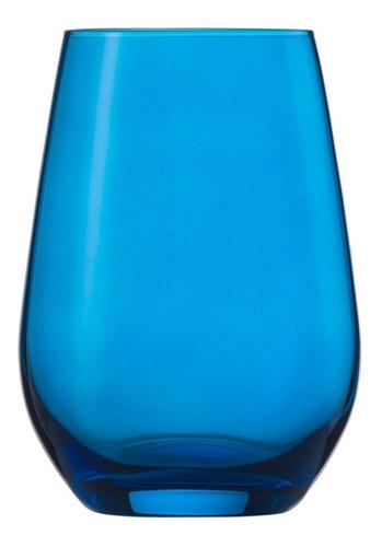 Jogo De Copos Cristal 6un Agua, Suco Azul Vina Spots 397ml