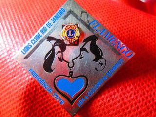 Boton Antigo Broche Lions Club Flamengo Lea Schimidt 1977