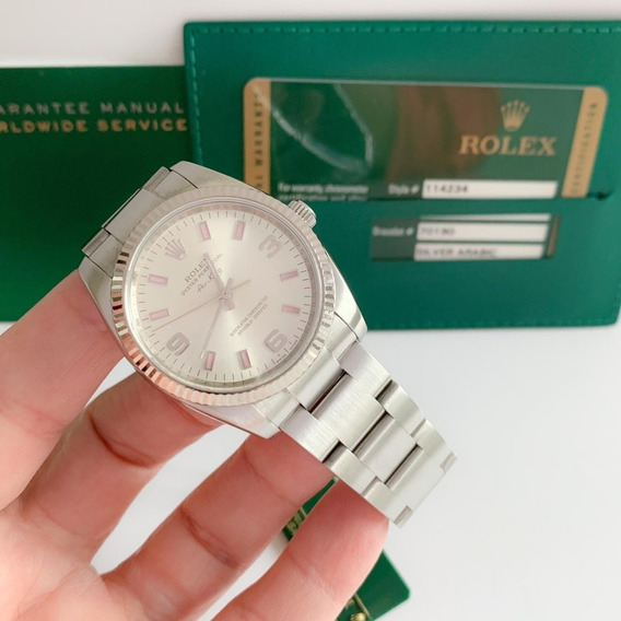 Rolex Air King 34mm Ouro Branco & Aço 34mm Completo