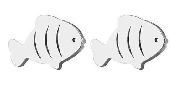 Brinco Aço Inóx Modelo Peixe Vazado Peixinho Bç 43