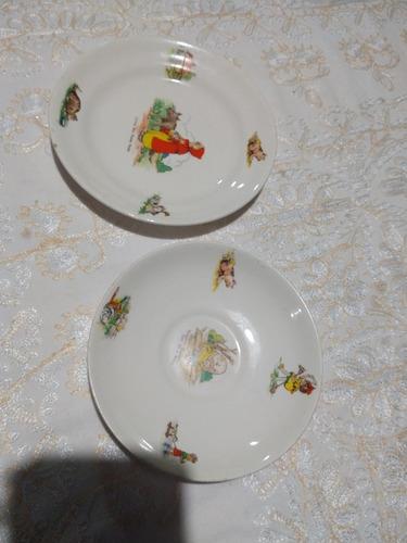 Plato De Niño Vintage Bristol. Antiguo Inglés. Porcelana