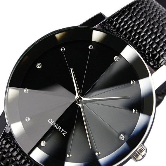 Relógio Casual Feminino Brilhantes Pulseira De Couro Preta
