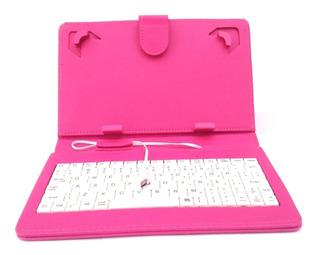 Capa Case Com Teclado Usb Para Tablet 7 Polegadas Rosa/pink