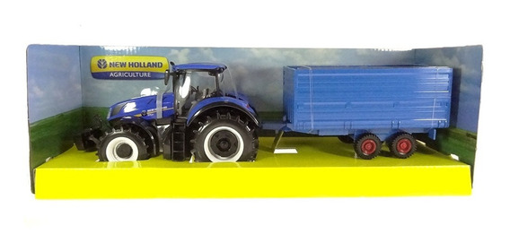 Miniatura Trator New Holland T7.315 C/ Carreta Bburago 1/32