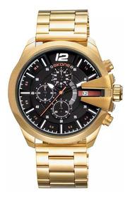 Relógio Skone Dourado Banhado Ouro Todos Ponteiros Trabalham