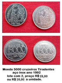 Moeda 5000 Cruzeiros Tiradentes Aço Inox Ano 1992