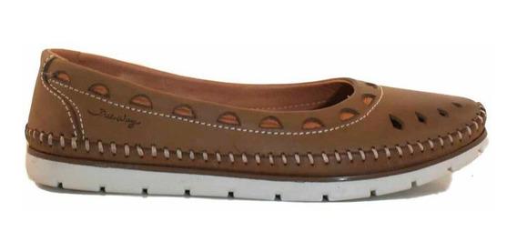Zapato Mocasin De Cuero Mujer Freeway Briganti- Mcmo03655 Co