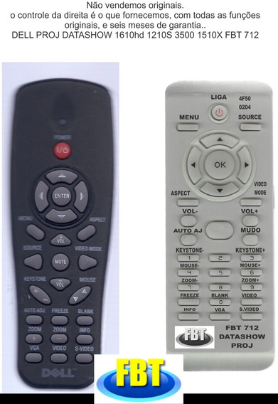 Controle Dell Proj Datashow 1610hd 1210s 3500 1510x Fbt 712