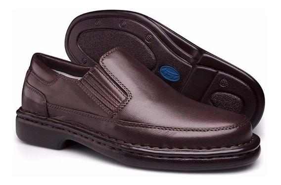 Sapato De Couro Social Sem Cadarço Para Esporão E Diabéticos