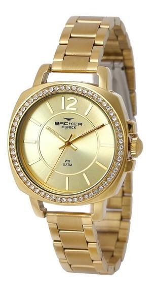 Relógio Backer Feminino Ref: 12022145f Ch Fashion Dourado