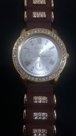 Relógio Feminino Belux Marrom E Dourado Com Strass