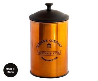 Frasco Lata Vintage Cobre Yerba Azucar Cafe 15 Cm Altura