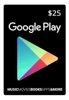 Tarjeta Google Play 25 U$ Usa   Entrega Inmediata- Gamer24hs